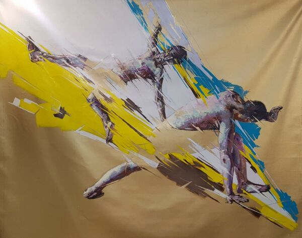 Shai Yossef  extra large oil painting wall Capoeira Colorful Contemporary Art