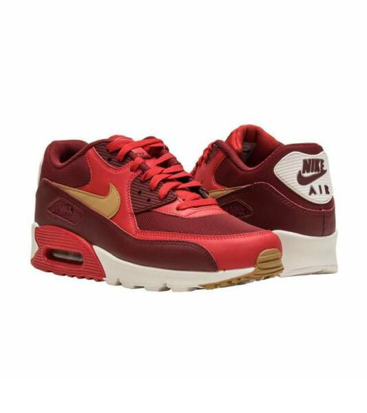 New NIKE AIR MAX 90 Essential Size 8 Game Red Elemental Gold  537384-607