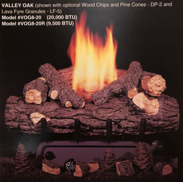 Real Fyre Valley Oak Vent Free Gas Log 20quot; Natural Gas with Remote Control