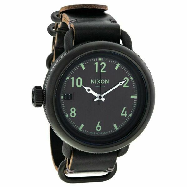 Original Nixon Men's A279001 October All Black 48.5mm Leather Strap Swiss Watch
