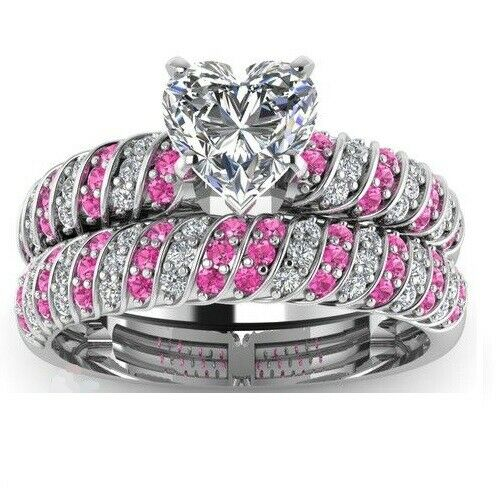 3ct Heart Cut Diamond Pink Stone Bridal Set Engagement Ring 14k White Gold Over