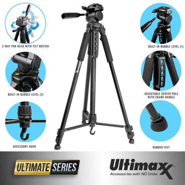 Ultimaxx 75 Inch Professional Lightweight Tripod for Nikon Canon Sony