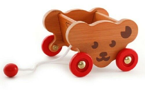 The Toy Shoppe Exclusive STEIFF BEAR CART - Bamboo Wood 3.75