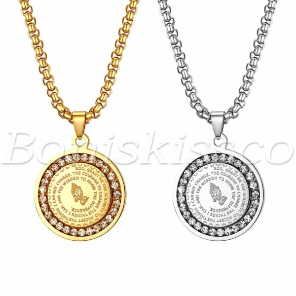 Men#x27;s Stainless Steel Rhinestone Bible Text Prayer Tag Pendant Necklace Chain $13.99