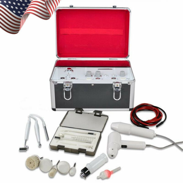 Pro 5 in1 High Frequency Galvanic Facial Brush Vacuum Spray Beauty System USA