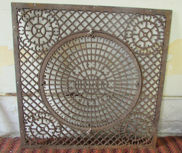 Large Cast Iron Grate With Removable Center Salvage Repurpose 31