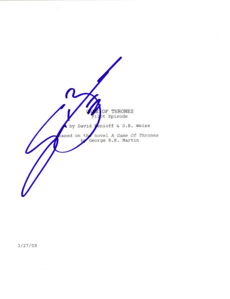 ACTOR SEAN BEAN SIGNED 'GAME OF THRONES' NED STARK FULL PILOT EPISODE SCRIPT COA
