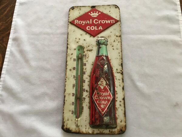 Royal Crown Cola 1950's Embossed Tin Thermometer With Diamond Label