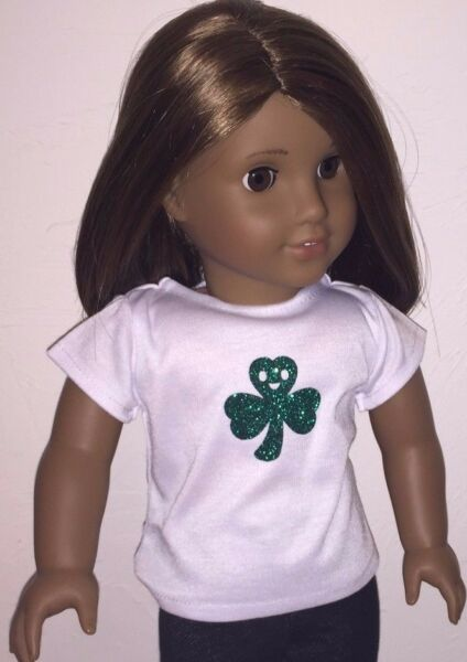 Happy Saint Patrick's Day Smiling Clover Tee Shirt sized for American Girl Dolls