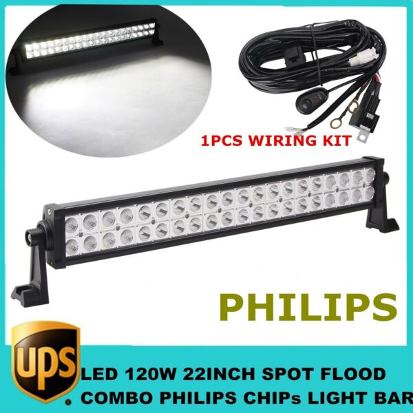 22#x27;#x27; inch 120W LED Combo Light Bar For Roof SUV Ford Tacoma Jeep Harness Kit 150 $33.40