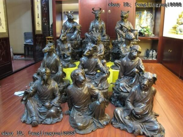 100% Pure Red Bronze China Palace classical Sign animal twelve Zodiac Statue Set