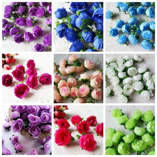 10Pcs Artificial Flowers Small Mini Silk Rose Heads Flower Party Wedding Decor