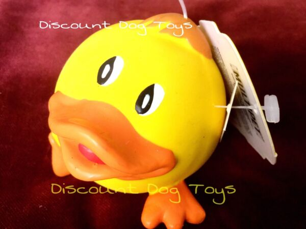 Multipet latex Animal ball Yellow Duck squeaky 3 inch dog toy Lucky Duck