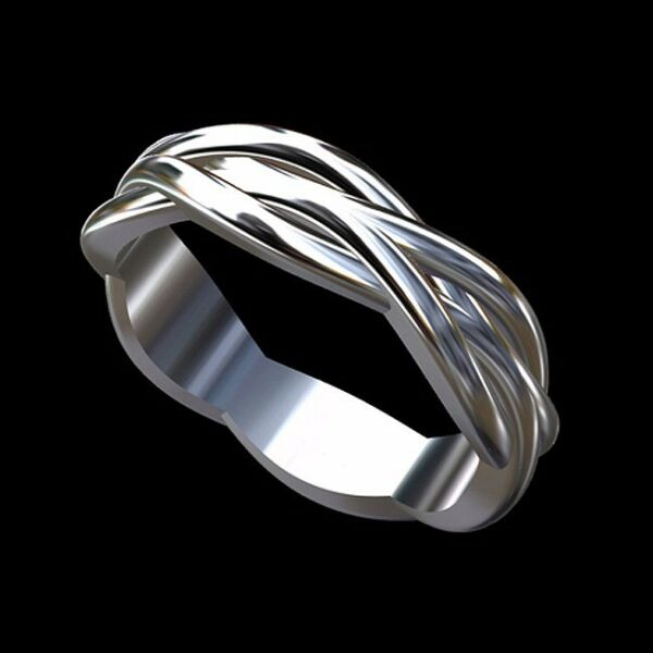 Platinum 950 Twisted Infinity Men's Wedding Band Ring 6mm Wide