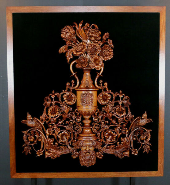 Baroque Hand Carved Fine Wall Art Sculpture Mahogany wood 52x57in WOW