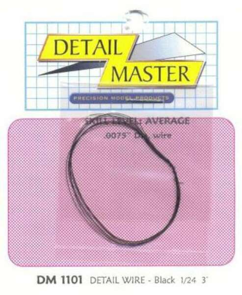 Detail Master 2ft Detail Wire Black -- Plastic Model Vehicle 673409011016