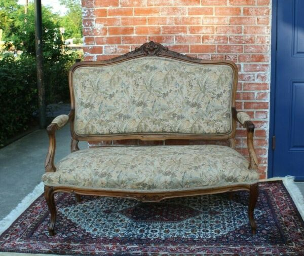 French Walnut Antique Louis XV Settee Loveseat Bench Living Room Furniture