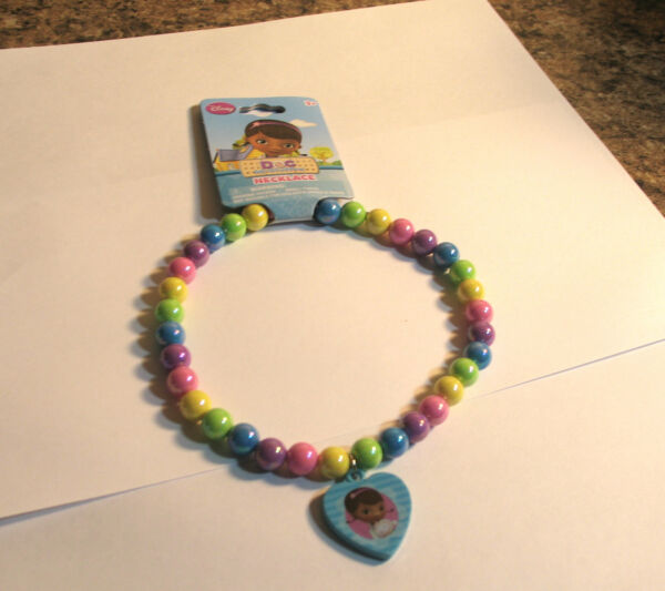 Disney Doc McStuffins Jewelry Necklace Beaded With Blue Charm NEW