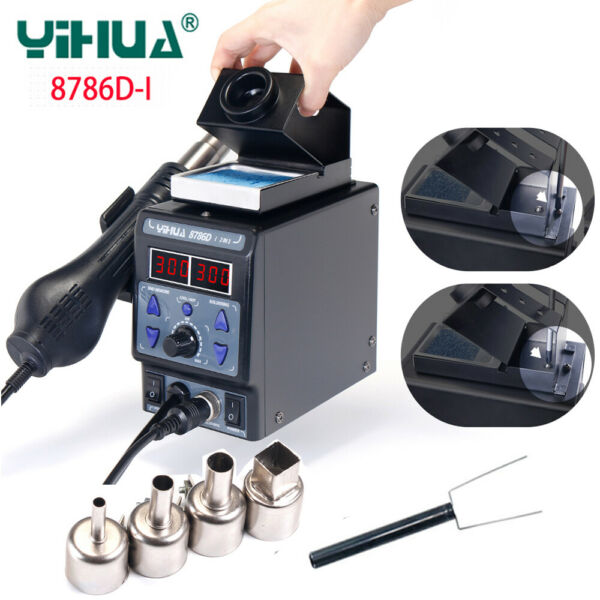 220V YIHUA 8786D-I 2 In 1 Soldering Rework Station Hot Air Gun SMD Iron Welding
