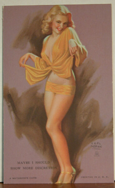 Earl Moran Arcade Mutoscope Card Blond Maybe I Should Show More Discretion