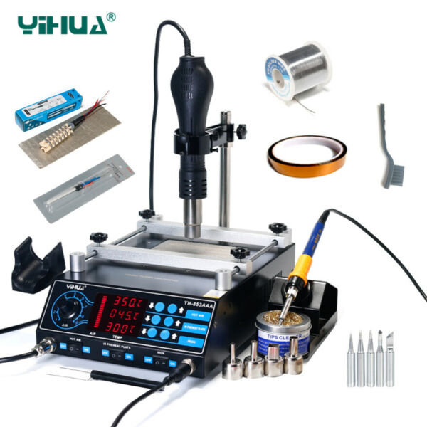 YIHUA 853AAA 220V 3 in 1 BGA Rework Station Solder Iron Hot Air Gun + Parts Set