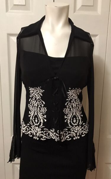 Joseph Ribkoff Black White Top Blouse Lace Up Sheer Bell Back Sleeves size 8 $37.99