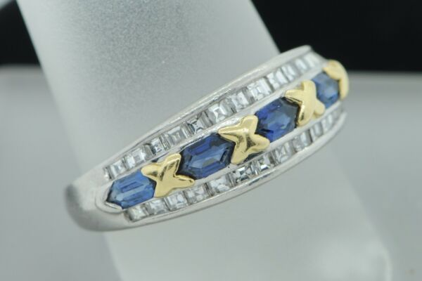 Kattan Diamond Platinum 18K Yellow Gold Double Terminated Sapphire Diamond Band