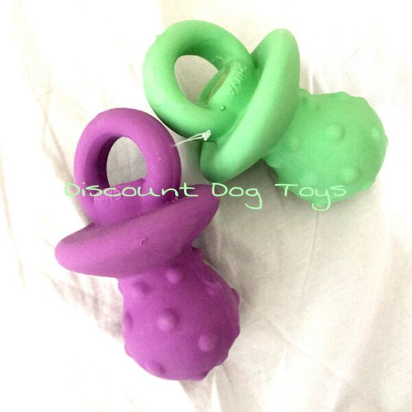 TWO Multipet Pacifier Latex Squeaker Dog Puppy Toy New