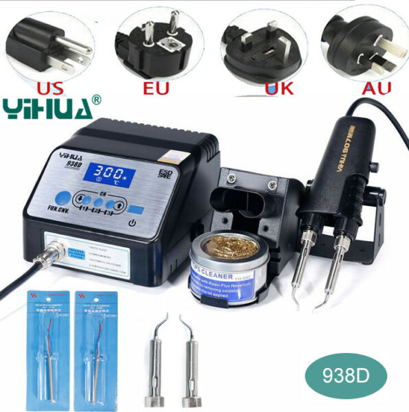 YIHUA 938D 220V Tweezer Soldering SMD Irons Station+2 Heating Core+2pcs Iron Tip
