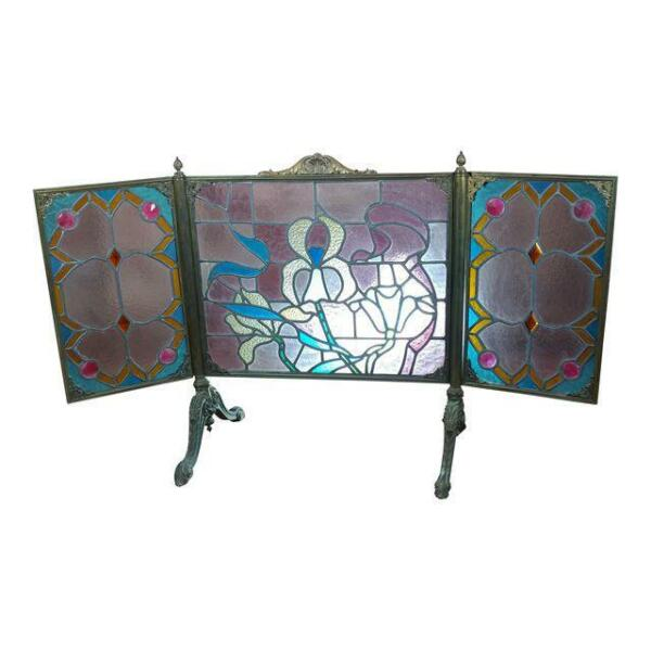 Gorgeous Art Nouveau Bronze amp; Stained Glass Fireplace screen