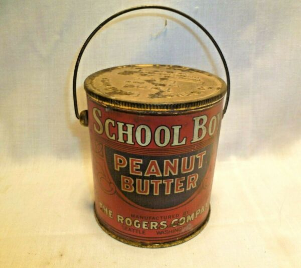 VTG LITHO TIN CAN PAIL SCHOOL BOY PEANUT BUTTER SEATTLE ROGERS COMPANY ONE POUND