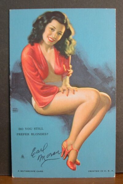 Earl Moran Hand Signed Mutoscope Card Sexy Brunette Do You Still Prefer Blonds?