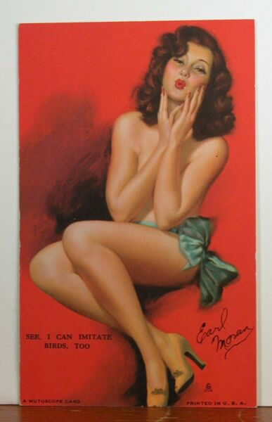 Earl Moran Handsigned Mint Mutoscope Card See I Can Imitate Birds Too Rare