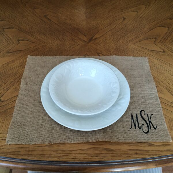 Burlap Placemats for Wedding Reception Personalized Set of 2