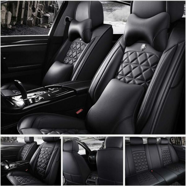 Car Seat Cover PU Leather 100% 5-Seat SUV Cushions Set Front & Rear WPillows US