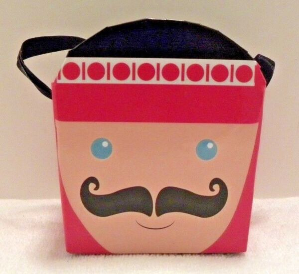 Nutcracker  Soldier Thick Cardboard Bucket Pail With Ribbon Handle Christmas