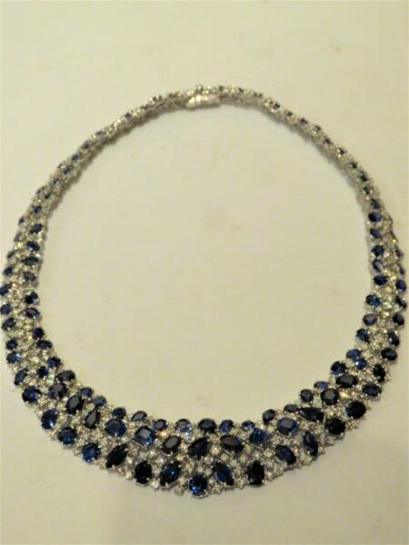 FROM PIERRE HOTEL NYC! $350K WINSTON STYLE 18KT CEYLON SAPPHIRE DIAMOND NECKLACE