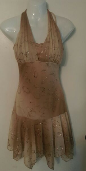 Taboo STUNNING BEIGE BROWN GOLD SPARKLE PROM COCKTAIL DRESS sz S