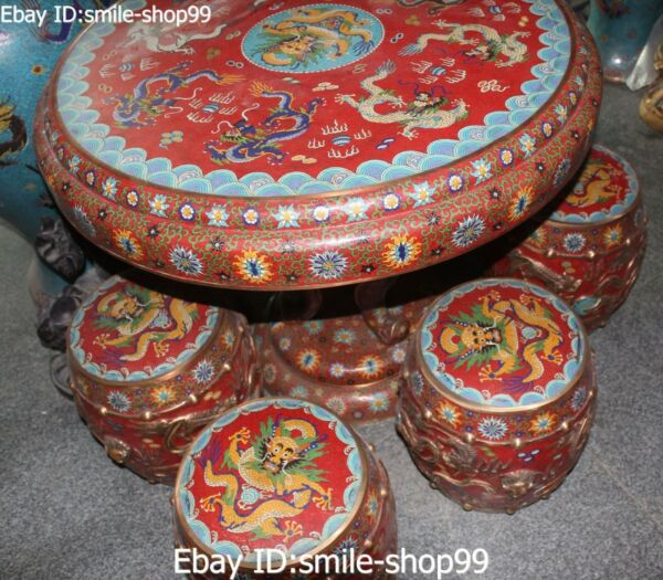 Cloisonne Enamel 9 Dragon Dragons Play Ball Round Table Dining Table Chair Set