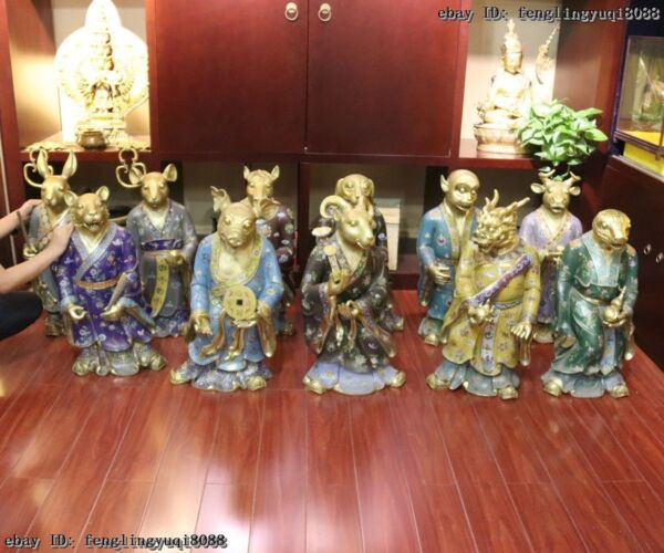 Chinese Zodiac Palace Gilt Copper Cloisonne Sign animal twelve Zodiac Statue Set