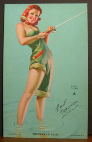 Earl Moran Hand Signed Mutoscope Card Fisherman's Luck Sexy Redhead Rod