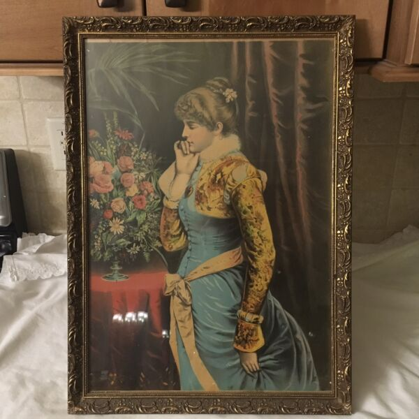 "Framed Poster Art Print Victorian Lady ""Pleasant Memories"" 20""x 14"""