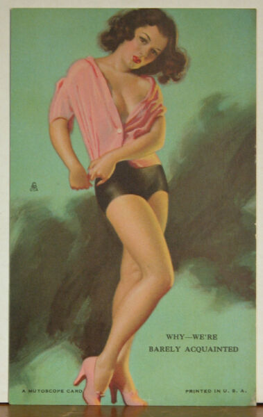 Earl Moran Arcade Mutoscope Card Sexy Brunette Why We're Barely Acquainted