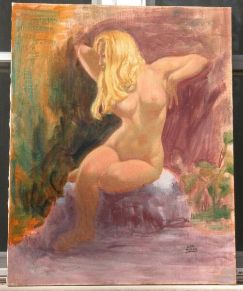Earl Moran Original Painting 1960's Blond Seated Nude Arms Up