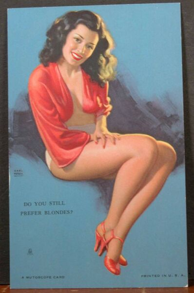 Earl Moran Mutoscope Card Brunette Beauty Do You Still Prefer Blonds?