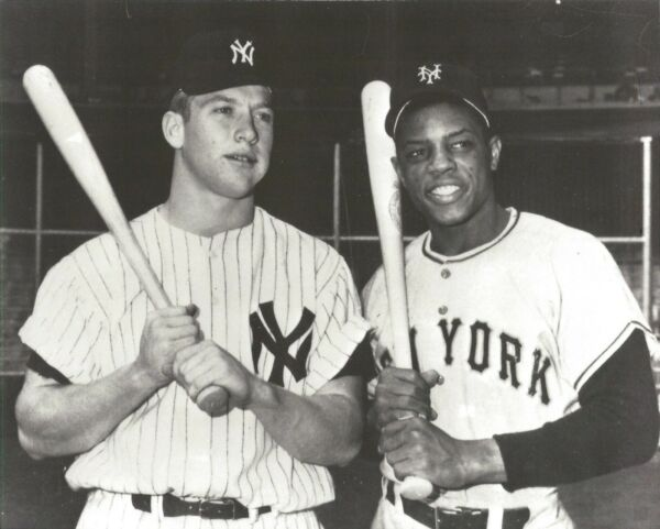 MICKEY MANTLE  & WILLIE MAYS 8X10 PHOTO NEW YORK YANKEES BASEBALL PICTURE MLB