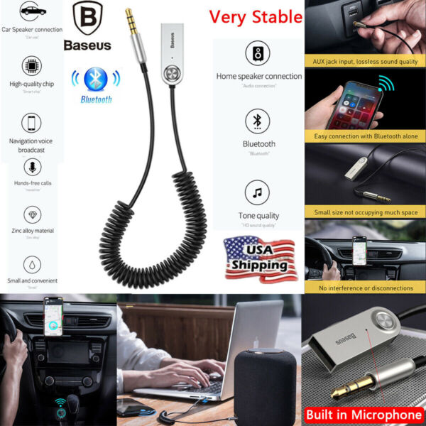 Wireless USB Bluetooth 3.5mm AUX Audio Stereo Home Car Receiver Adapter Cable $12.49