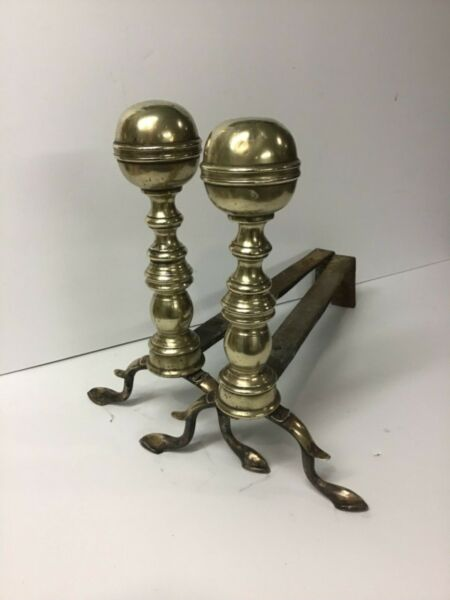 18th Century Cast & Soldered Brass Andirons