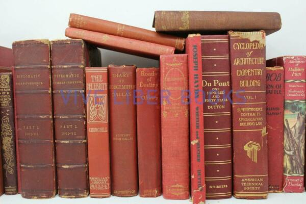 Lot 5 RED Shades of RED Old Vintage Antique Rare Hardcover Random
