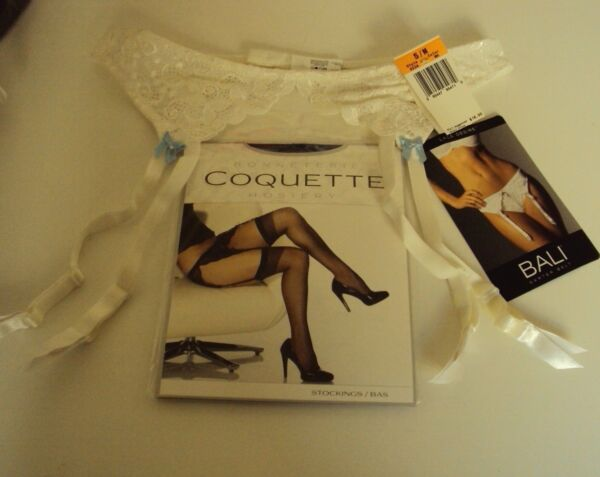 Bali Lace Desire White Garter Belt with bows and stocking set Size S M